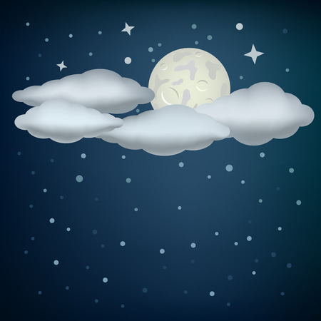 glistering: The clouds, moon and night stars sky background