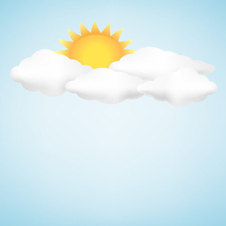 The clouds, sun and blue sky background Illustration