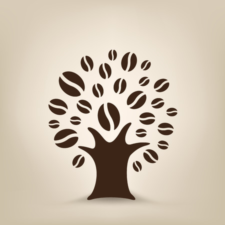 agro: The coffee tree silhouette on the light brown mesh background Illustration