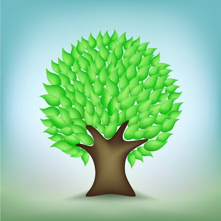 The green cartoon tree on the nature light mesh background