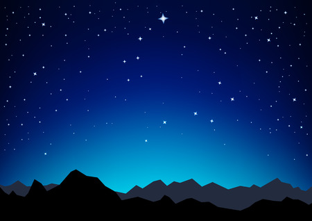 Night sky with the constellation of the Great and Little Dipper as they are in the nature and the silhouette of the mountains Vector