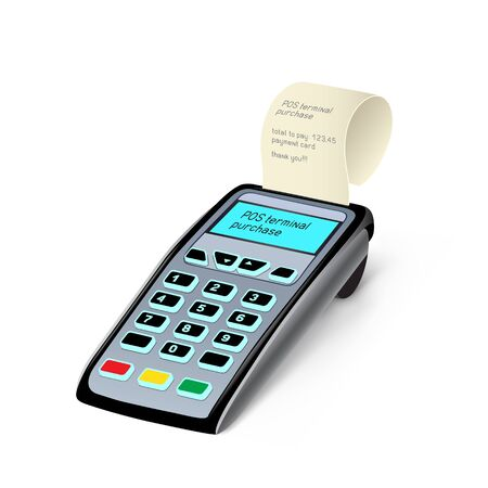 The POS terminal device on the white background Illustration