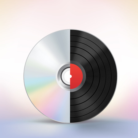 The evolution of the music disc on a colored mesh background