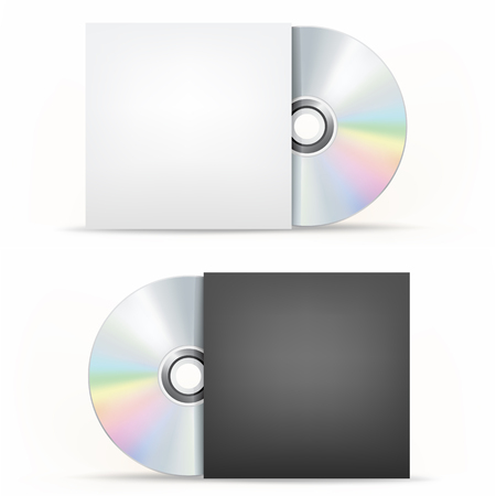 record label: The CD-DVD disc and paper case on the white background