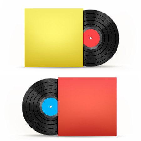 paper case: The vinyl disc and colored paper case on the white background