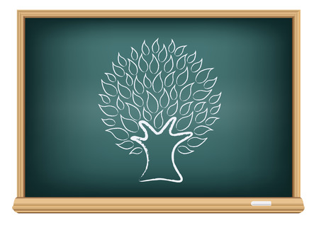 agro: The blackboard and drawing a tree isolated on a white background Illustration