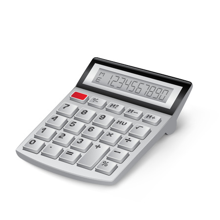 The white calculator on the white background Illustration