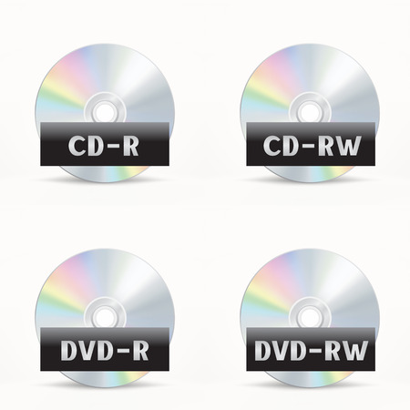 The CD-DVD disc icon set on the white background Illustration