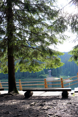 Observation area and lakeside Sinevir in the Carpathian Mountain