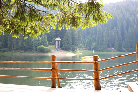 Observation area the lake Synevir in the Carpathian Mountain