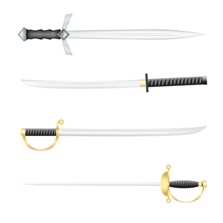 sword fight: The Swords saber and a epee on a white background