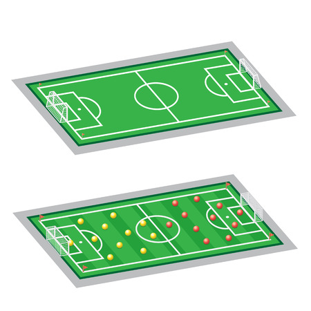 tactic: The soccer-football field, empty and with tactic scheme on a white background Illustration