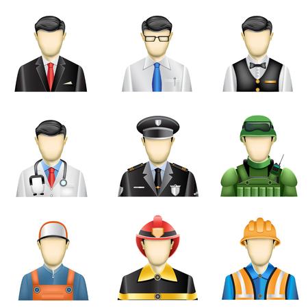 hombre con sombrero: Los iconos de los trabajos masculinos conjunto aislado en el fondo blanco