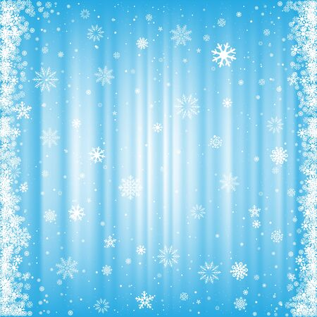 The falling snow on the blue striped mesh background Illustration