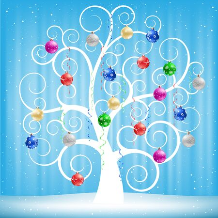 The winter swirl tree with Christmas multicolored balls on the blue mesh background Illustration