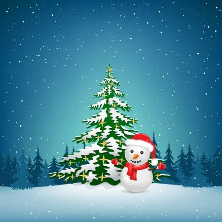 The Christmas tree and snowman on the winter forest background Illustration