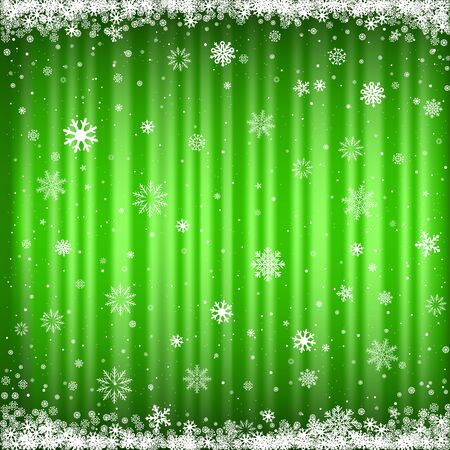 The falling snow on the green striped mesh background