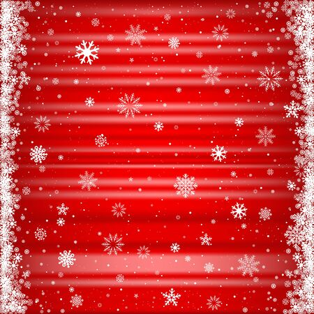 The falling snow on the red striped mesh background