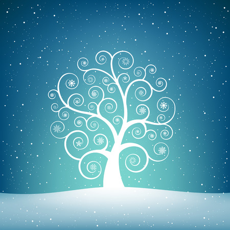 The winter swirl tree with snowflakes on the blue sky mesh background Illustration