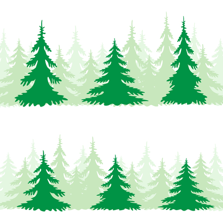 tall tree: The green spruce silhouette set on the white background