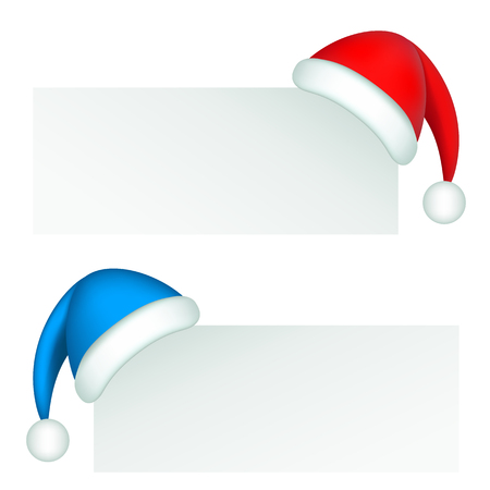 Santa Claus red and blue hat on a corner background Illustration