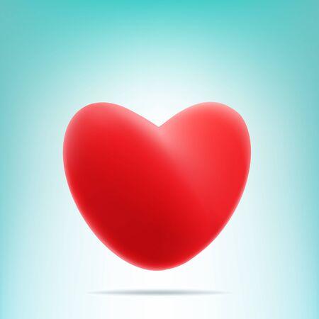 enamorados caricatura: Coraz�n rojo vector de malla con sombra sobre fondo azul y blanco luz. S�mbolo del d�a de San Valent�n Vectores