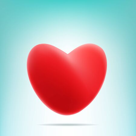 Red vector mesh heart with shadow on light blue and white background. Valentines Day symbol
