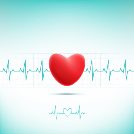 Heart cardiogram with heart. Editable vector background - heart and heartbeat symbol on reflective surface Illustration