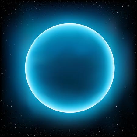 Concepto de diseño planeta vacío azul. Las estrellas y el espacio en el fondo