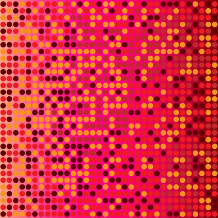 Shining disco mosaic background with light and dark red colors. Round pixels are easily editable.