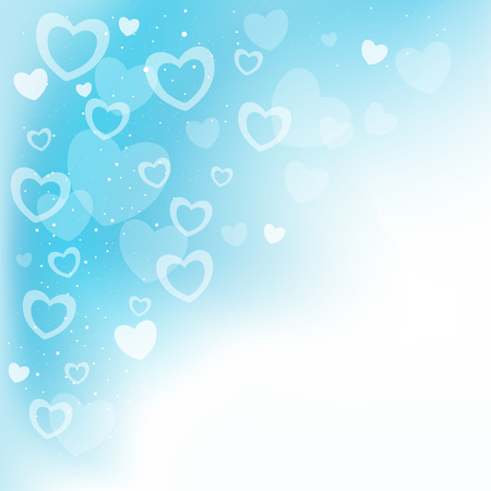 Dream transparent blue hearts background and copyspace for message Illustration