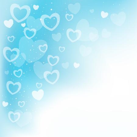 corazones azules: Sueño transparente corazones fondo azul y copyspace para el mensaje