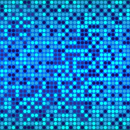 Shining disco mosaic background with light and dark blue colors. Round pixels are easily editable. Illustration