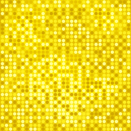 Shining disco mosaic background with light and dark yellow colors. Round pixels are easily editable. Illustration