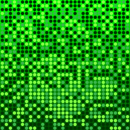 Shining disco mosaic background with light and dark green colors. Round pixels are easily editable.
