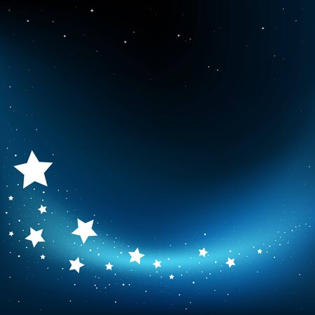 Dream fly stars blue dark background and copyspace for message