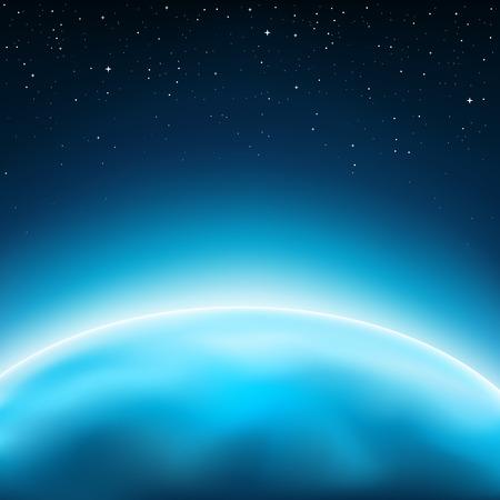 horizonte: Azul concepto horizonte planeta. Las estrellas y el espacio en el fondo