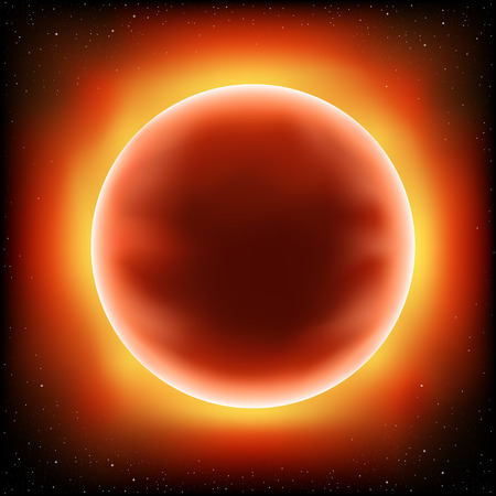 Red sun design concept. Stars and space on background