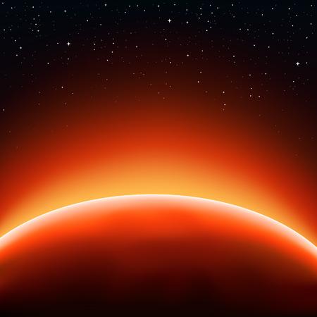 Concepto rojo horizonte sol. Las estrellas y el espacio en el fondo