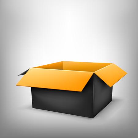 paperboard packaging: 3D black outside orange inside open paper package on light white mesh background Illustration