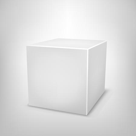 3D white paper cube on light white mesh background