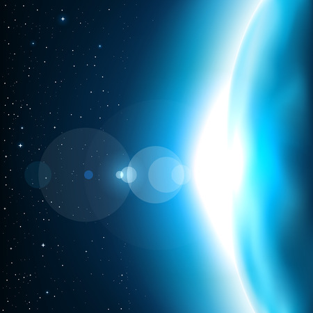 Blue planet glow light. Stars and reflections of light on background. Space theme Illustration