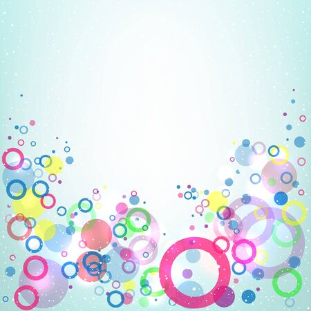 Flying up multicolored circles on light blue mesh background with the area for the text