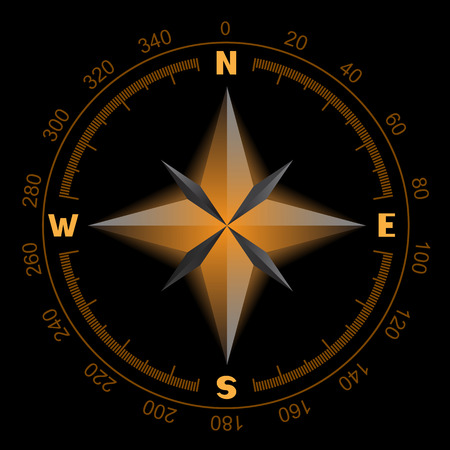 Compass wind rose which glows orange color on a black background. The dial and the scale shows North South East West directions Illustration