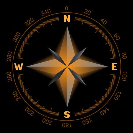 Compass Windrose, die auf einem schwarzen Hintergrund orange Farbe leuchtet. Das Zifferblatt und die Waage zeigt Nord-Süd-Ost-West-Richtung Standard-Bild - 51043436
