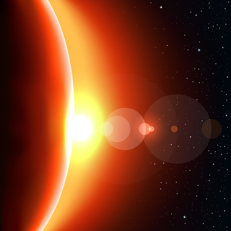Red sun glow light. Stars and reflections of light on background. Space theme Illustration