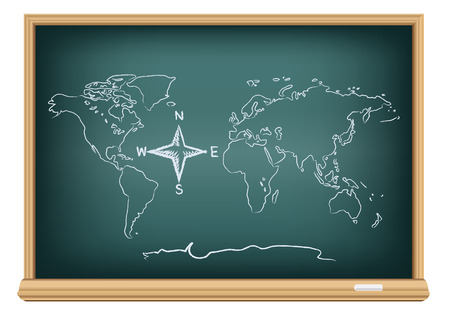 geography background: Studying geography map. Drawing world and compass wind rose on education blackboard on a white background. The arrows directions shows North South East West