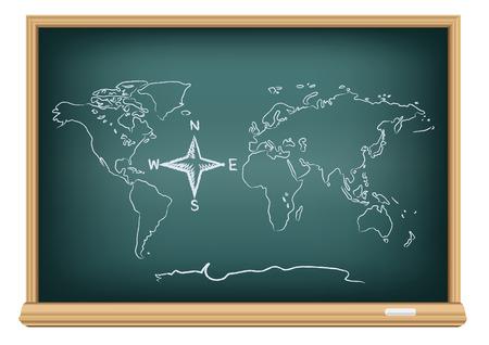 Etudier la carte géographique. Dessin monde et boussole rose des vents sur l'éducation tableau noir sur un fond blanc. Les directions des flèches montre Nord Sud Est Ouest