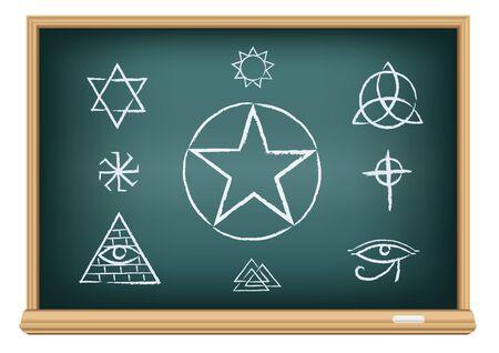simbolos religiosos: El estudio de la magia y el símbolo de la religión. Dibujos signos en la pizarra la educación sobre un fondo blanco.