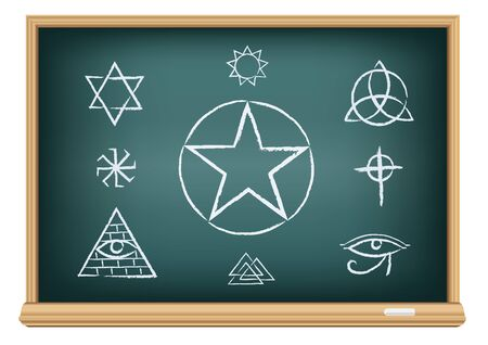 Studying magic and religion symbol. Drawings signs on education blackboard on a white background.